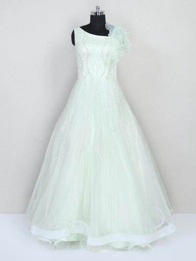 Net wedding wear floor length gown in green