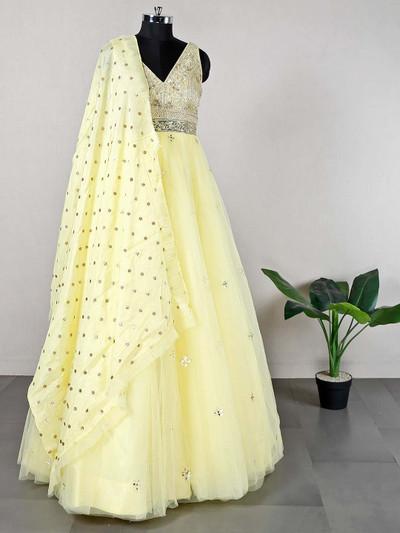 Net yellow anarkali suit for wedding