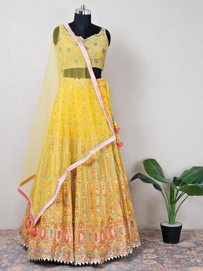 Net yellow beutiful wedding lehenga choli