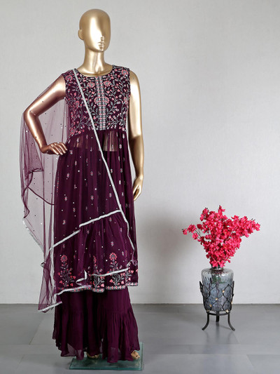 New georgette palazzo suit for wedding