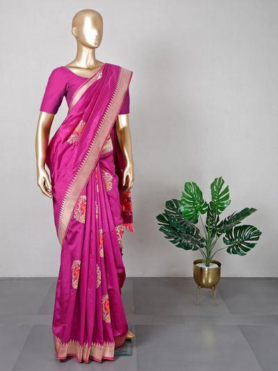 New purple muga silk saree for festive