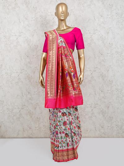 New style banarasi silk saree in white