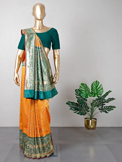 New yellow cotton silk wedding saree