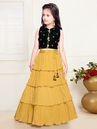 New yellow georgette lehenga choli for girls