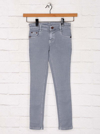 No Fear skinny fit grey solid jeans