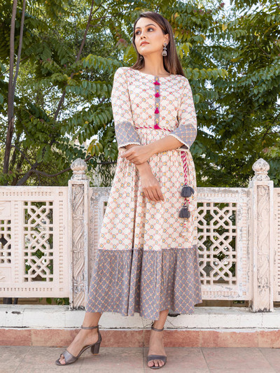 Off white cotton causal wear printed kurti
