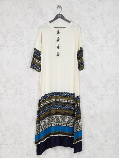 Off white cotton fabric casual kurti