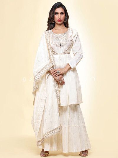 Off white cotton festive wear sharara suit