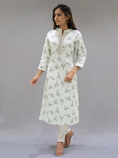 Pista green cotton punjabi style festive occasions pant suit