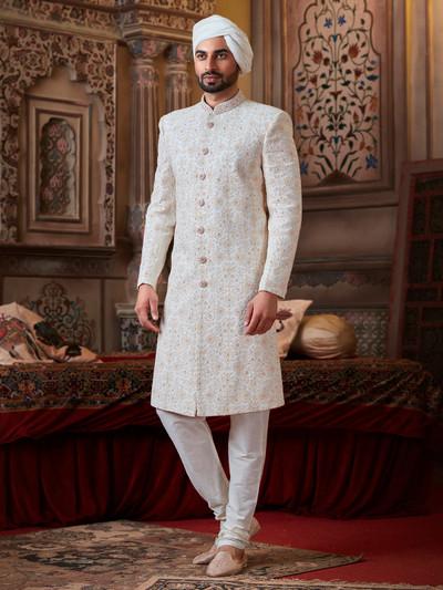 Off white georgette groom wear sherwani