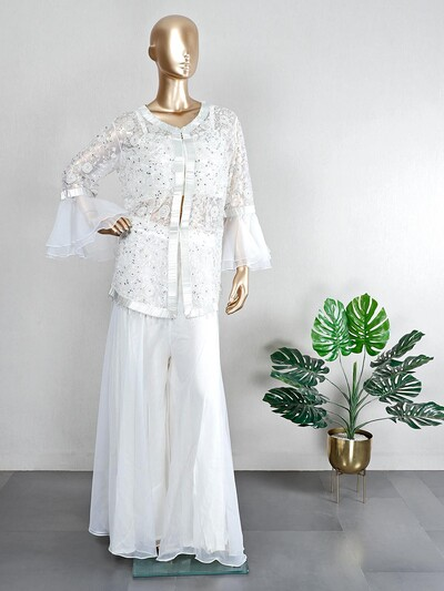 Off white net palazzo suit for wedding