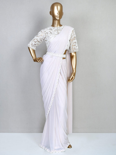 Off- white ready to wear party session saree