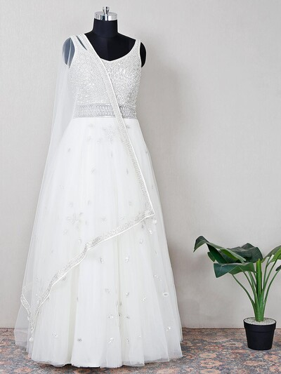 Off white wedding anarkali embossed with sequins work
