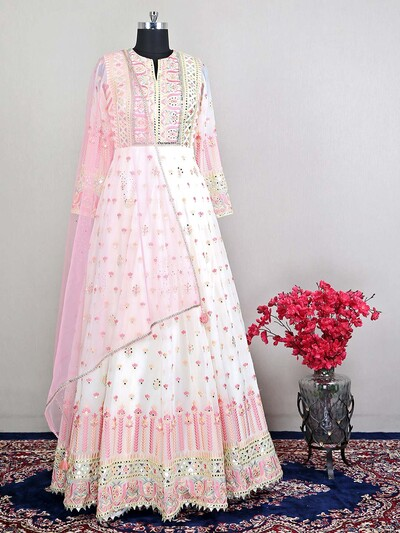 Off white wedding wear salwar kameez in floor length style