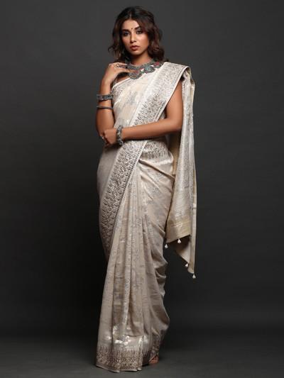Peach designer Wedding Wear Saree