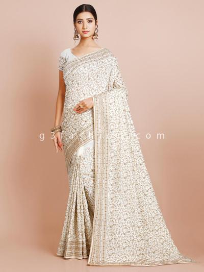 Off-white wedding wear silk saree for women