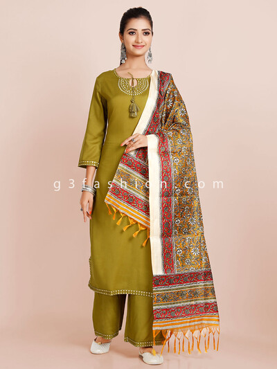 Olive day to day wear palazzo suit for women