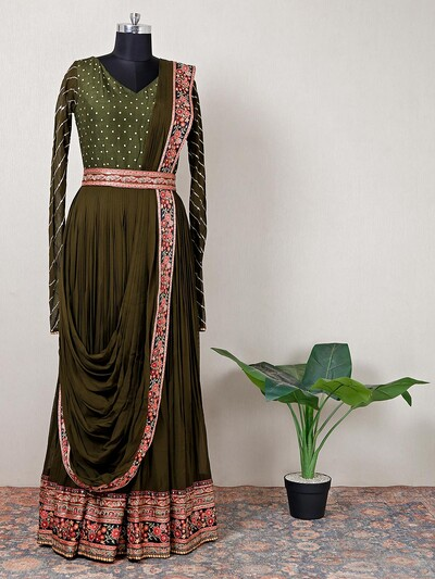 Olive georgette party session floor-length gown