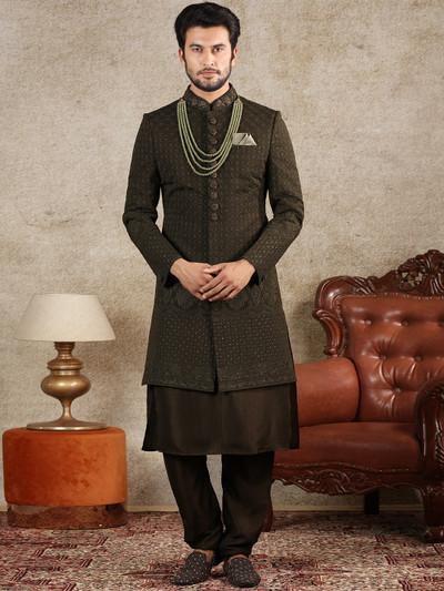 Olive silk wedding wear men sherwani