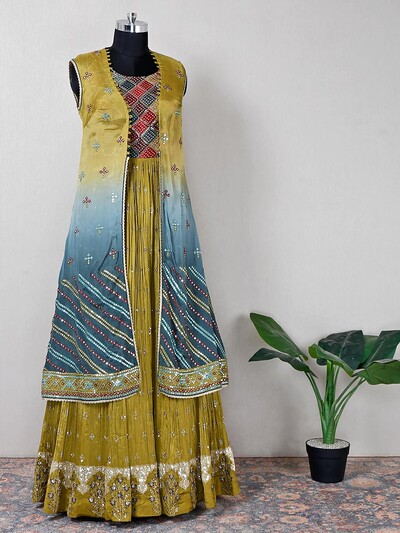 Olive thread detail floor length anarkali suit for women