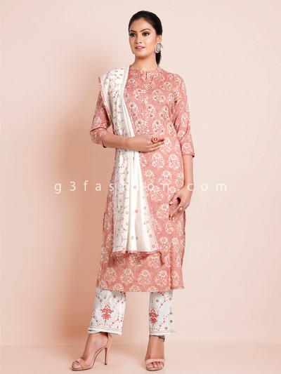 Onion pink cotton festive wear printed punjabi style pant suit