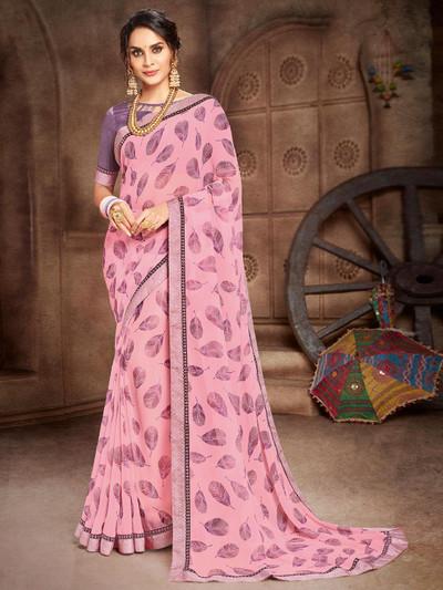 Onion pink georgette beautiful printed saree