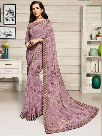Onion pink georgette saree for festivals