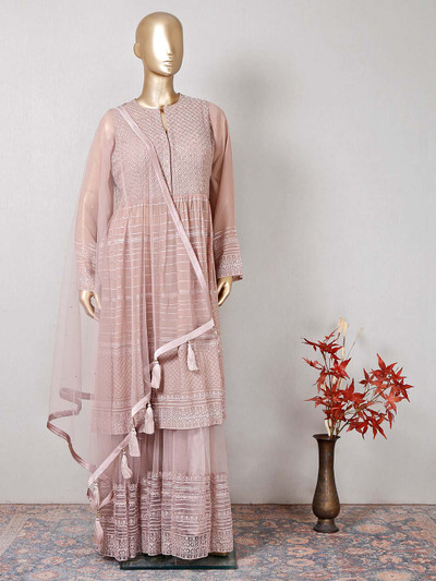 onion pink georgette wedding wear sharara salwar kameez