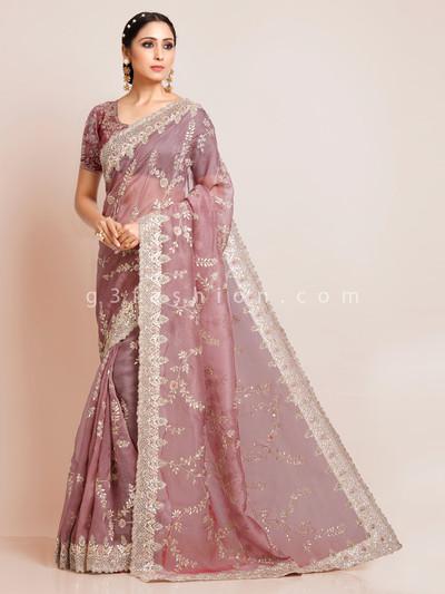 Onion pink organza tissue silk wedding special saree