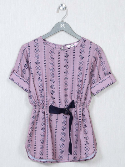 Onion pink printed cotton casual top