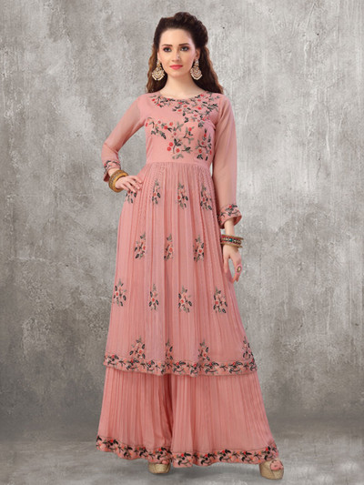 Onion pink punjabi style georgette party wear palazzo suit