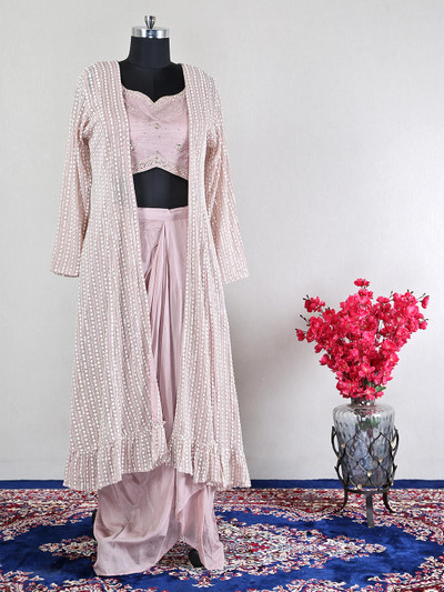 Onion pink raw silk lovely indowestern suit for wedding