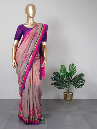 Onion pink raw silk saree for festive wear