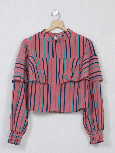 Onion pink striped cotton top for women