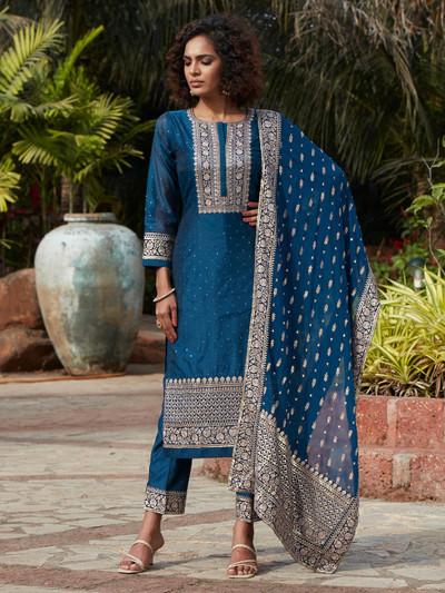 Opulent blue cotton silk punjabi style festive wear pant suit