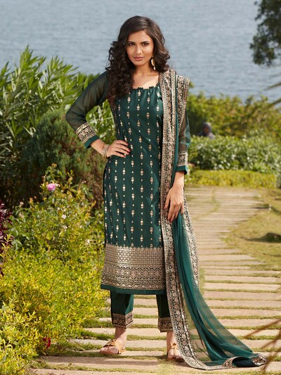 Opulent bottle green cotton silk punjabi style festive wear pant suit