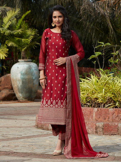 Opulent maroon cotton silk punjabi style festive wear pant suit