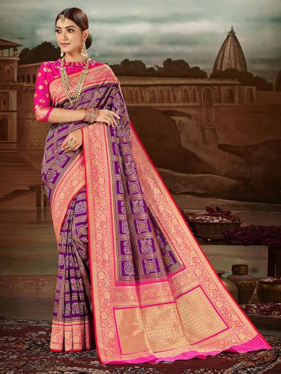 Opulent purple banarasi silk wedding wear saree