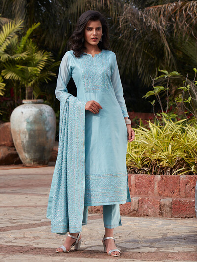Opulent sky blue cotton silk punjabi style festive wear pant suit