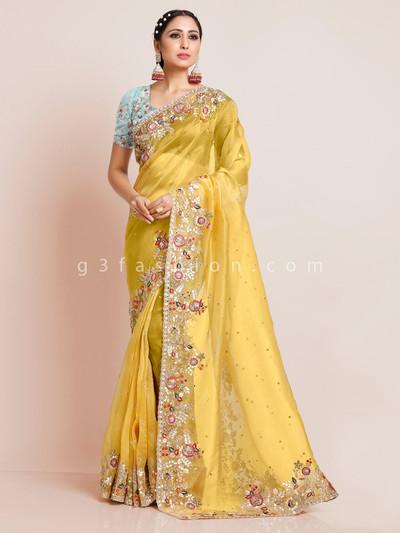 Oragnza tissue silk wedding saree in yellow