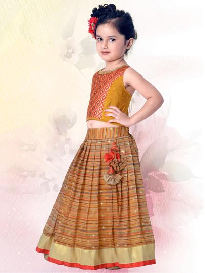 Orange and beige cotton silk lehenga choli for festive