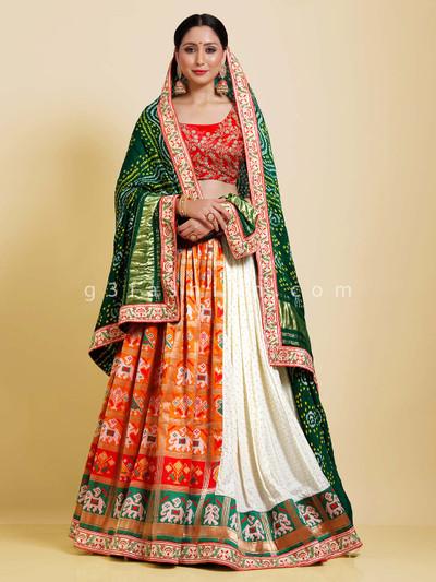 Orange and white patola silk half n half semi stitched lehenga choli