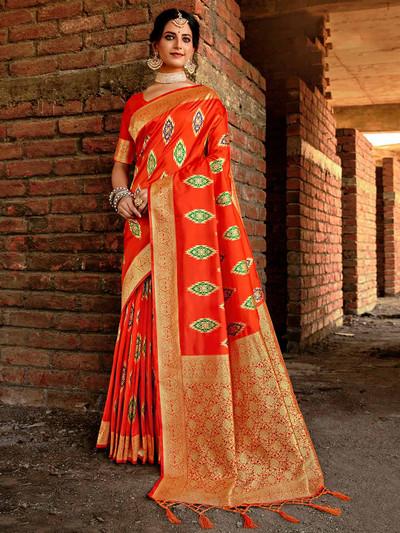 Orange banarasi silk saree for festive with zari work