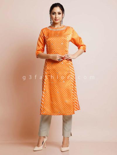 Orange color cotton festive wear kurti