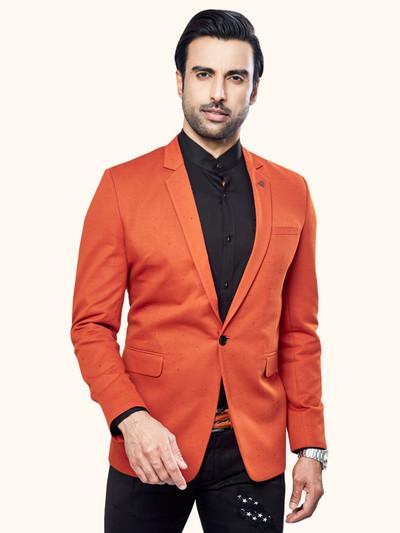 Orange color solid terry rayon mens blazer