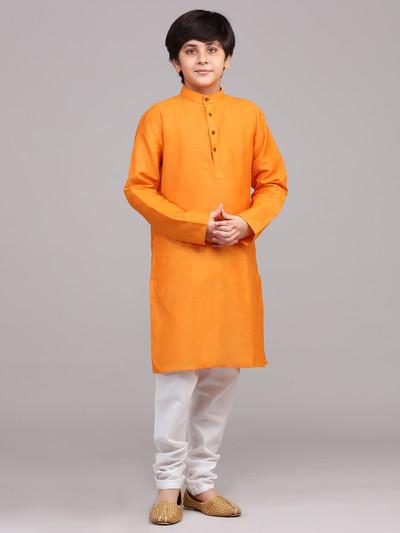 Orange cotton festive wear boys kurta suit