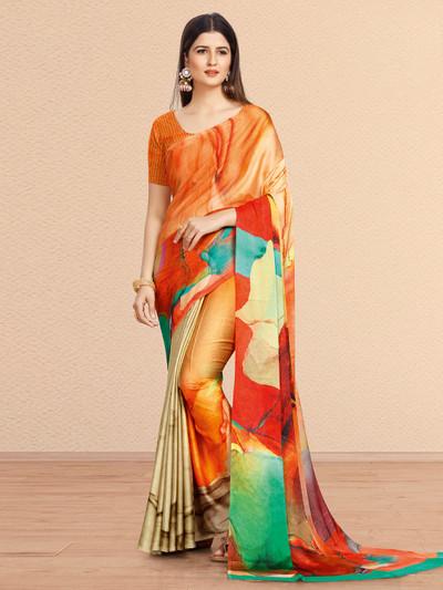 Orange hue pretty crepe saree