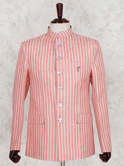 Orange linen stripe jodhpuri suit