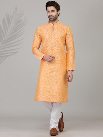 Orange printed cotton silk kurta suit for festive