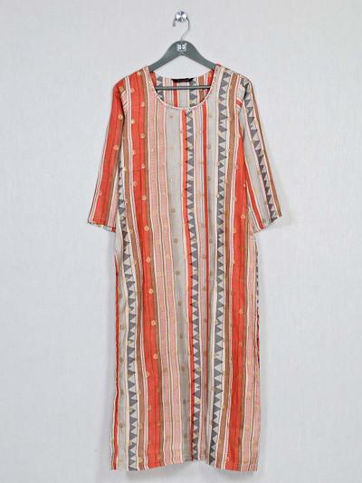 Orange printed style kurti for causal look